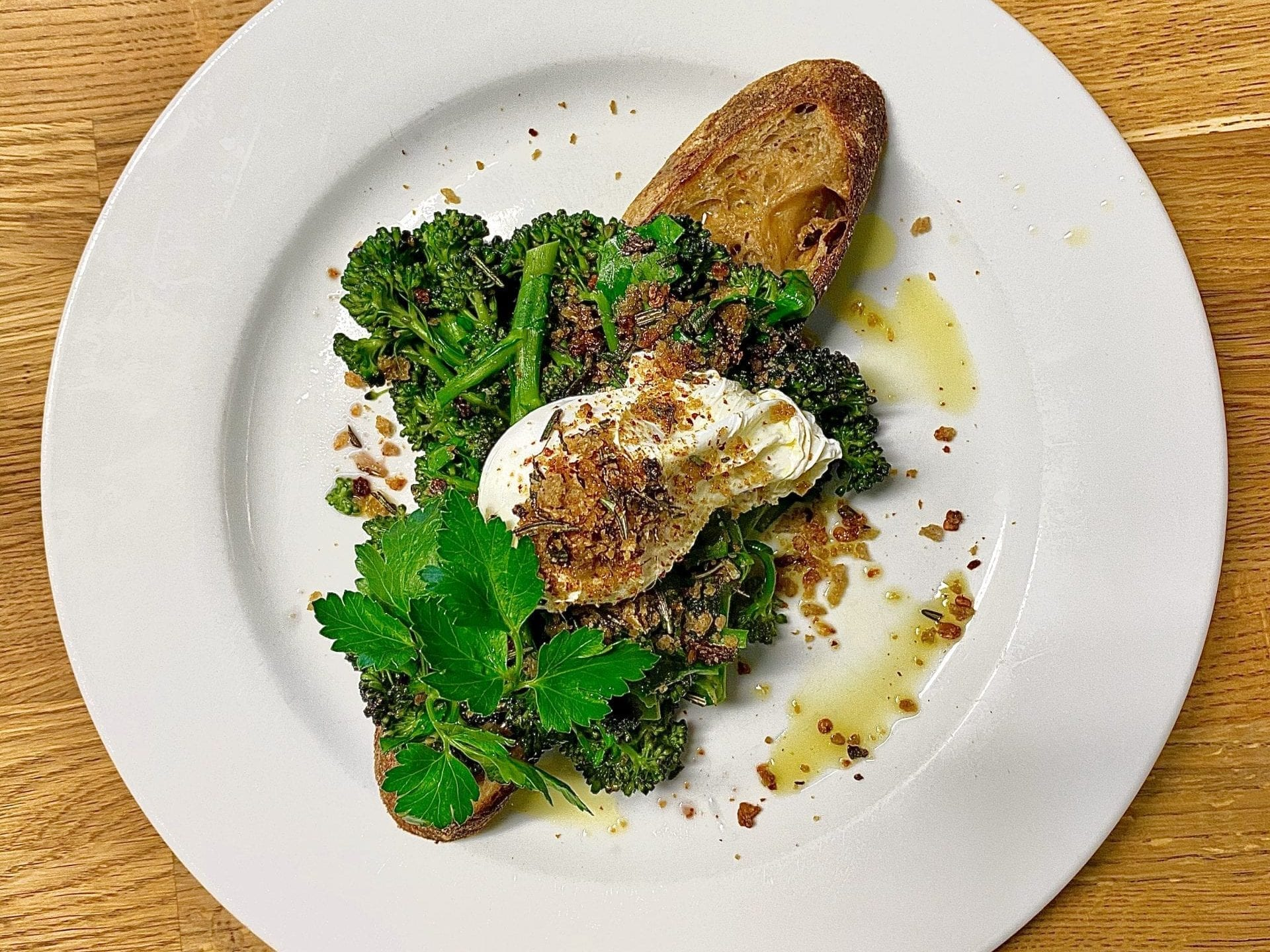 Purple Sprouting Broccoli with Poached Eggs, Wild Garlic Pesto and a Chilli Pangrattato