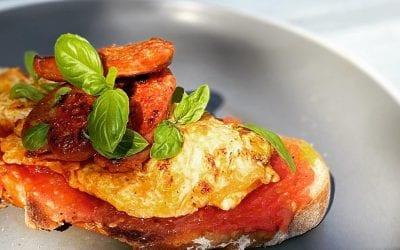 Chorizo, Omelette & Tomato Bread Brunch