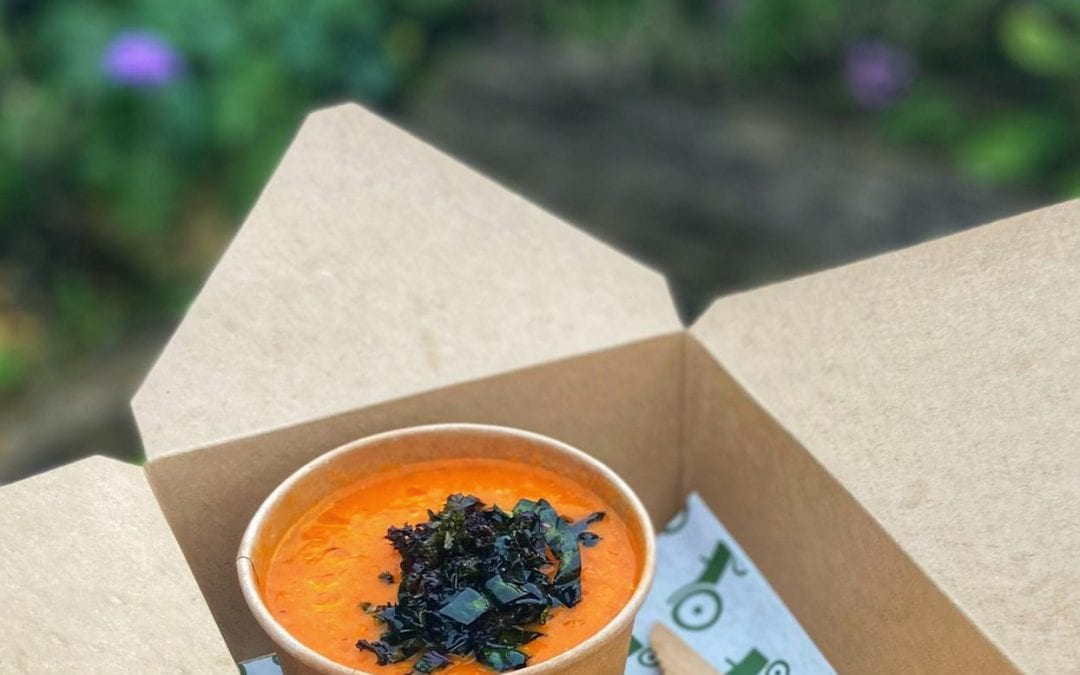 Harissa Roast Tomato and Chick Pea Soup with Crispy Kale